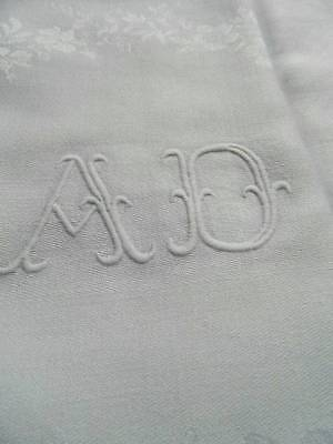 """Pair enormous antique French linen damask napkins hand embroidered monogram """"A.D"""