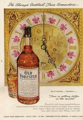 1951 It's Always Cocktail Time Somewhere-John Howard Art Clock-Old Forester Ad