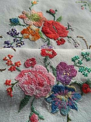 Vintage hand embroidered Irish linen table topper tray cloth - Roses