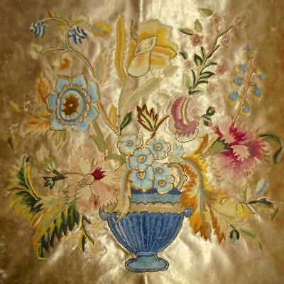 EXQUISITE LARGE 19th CENTURY EMBROIDERY, CREWEL WORK WOOL SILK, VASE OF FLOWERS