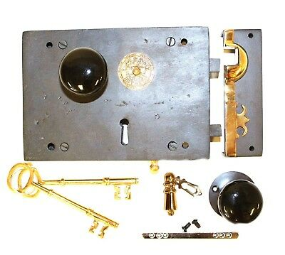 Colonial Carpenters Rim Lock Wrought Iron Right Hand Black Knobs