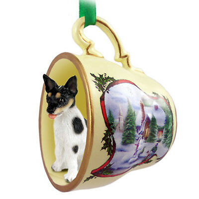 Rat Terrier Dog Christmas Holiday Teacup Ornament Figurine