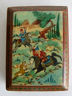 Fine Old Persian Miniature Carved Wood Marquetry Hunting Scene Jewelry Box