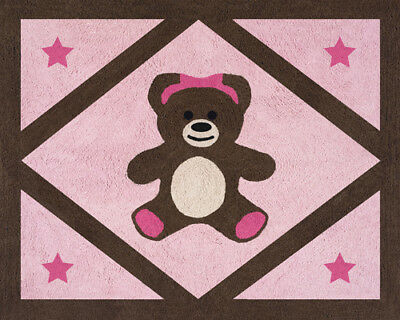 Girls Baby Kid Room Floor Rug for Sweet Jojo Designs Pink Teddy Bear Bedding Set