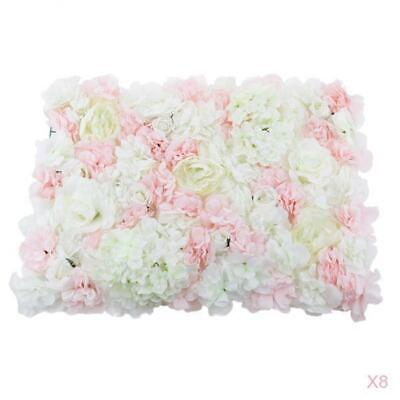 8pcs Artificial Flower Panels Wall Hanging Ornaments Wedding Decor Pink