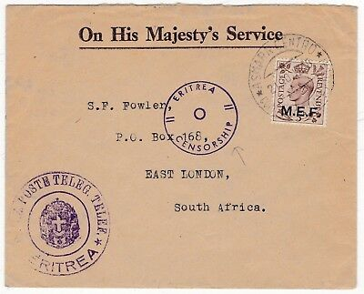 1942 ERITREA CENSORSHIP M E F OVERPRINT 5d GB STAMP POSTE TELEGRAPH TO S AFRICA
