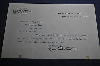 1911 *SIGNED* Louis A Frothingham Congressman On Law Office Letterhead, HARVARD