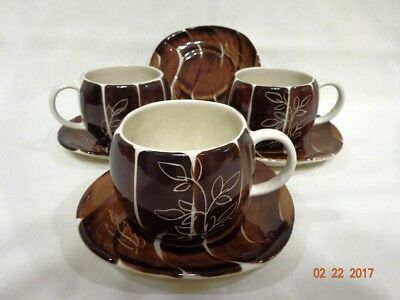 **purinton Intaglio Brown (3) Cups & (4) Saucers Us16-G