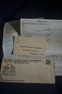 Ca 1914 Mead Crusader Bicycle Letter and Fliers *AUTHENTIC*