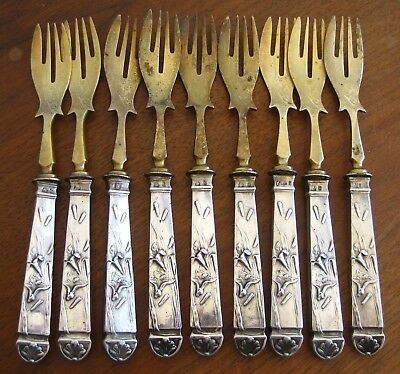 9 Pc Antique 800 German Silver Gold Plated Jugendstil Silverware Fish Fork Set