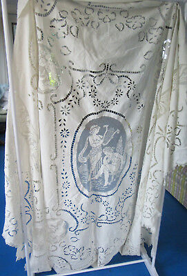 Antique Coverlet Bedspread Pierced Linen Lace Angels w Harp Cherubs Embroidered