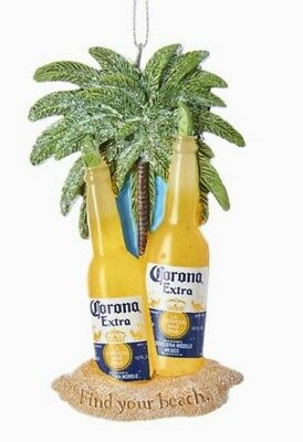 Corona Beer Bottles Find Your Beach Christmas Tree Ornament Palm Trees New
