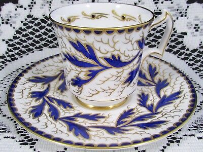 Royal Chelsea Hand Painted Cobalt Blue Gold Designs Tea Cup And Saucer