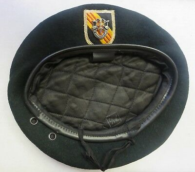 ORIGINAL 1960s VIETNAM Vintage US ARMY 5th SPECIAL FORCES GREEN BERET Size 7 1/2