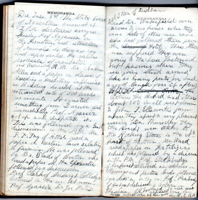 1872 Handwritten Diary School Girl Worcester Co MA Trip to Marblehead Massasoit