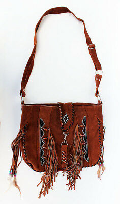 Cowgirl Western Brown Suede Leather Beaded Sling Bag Fashion Fringe 23102