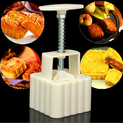100g Square Baking Mooncake DIY Mold Pastry Biscuit Cake Mould Fower w/4 Stamps