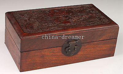 Authentic Old Rare Ornaments Box Wood Carving Dragon Collection