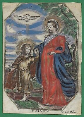 VIRGIN MARY & CHILD JESUS 17th/18th Cent. HOLY CARD ENGRAVING ON VELLUM 97x137mm