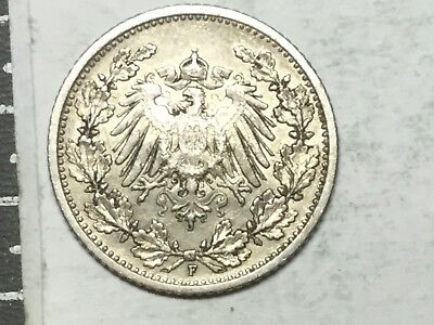 GERMANY 1906 1/2 Mark silver coin very nice condition