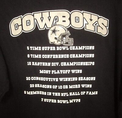 DALLAS COWBOYS football XL brag tee 5 Time Super Bowl Champions T shirt NFL