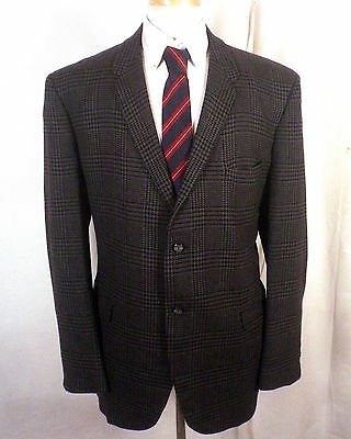 vtg 50s 60s Curlee plaid 100% Wool Tweed Canvassed Blazer Sportcoat narrow 46 R