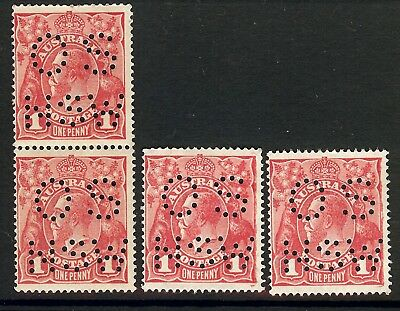 """KGV Australia 1914 Penny Red X 4 """"OS NSW""""   MINT NEVER HINGED No Gum"""