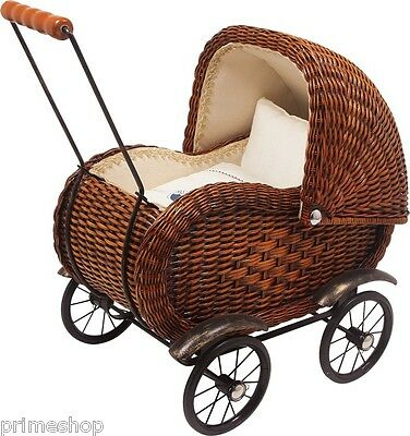 Doll Pram Wickerwork with Linen Nostalgie Metal Frame ca. 53 x 35 x 53 cm