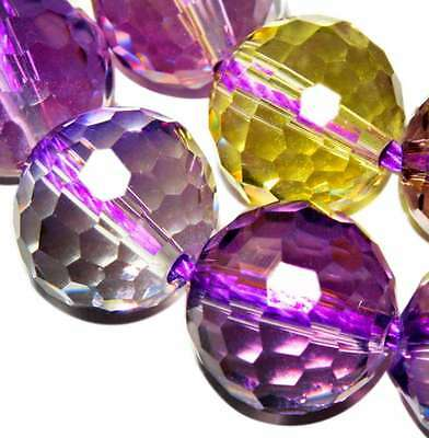 10mm Faceted Ametrine Ball Crystal Round Gemstone jewelry beads