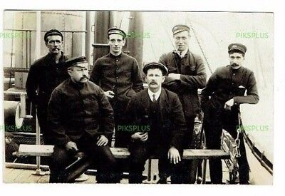 Real Photo Postcard Crew Of S.s Scarsdale / Leonatus Torpedoed Off Shetland 1917