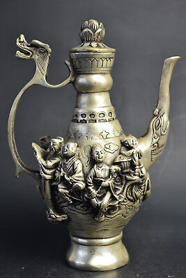 China Collectible Decor Handwork Old Tibet Silver God Sage Big Delicate Teapot