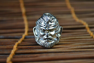 Collectible Vintage China Old Tibet Silver monkey King Decor Noble Warrior Ring