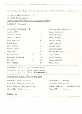 Luton Town Res v Swansea City Res 1974 - 1975