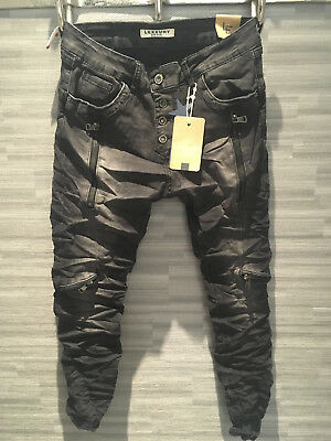 Doppel Zip Biker Denim Stretch Baggy-Jeans boyfriend schräge Naht Black S36