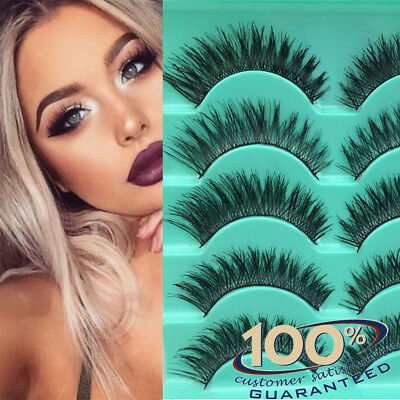 5 Pairs Long Natural Thick Handmade Fake False Eyelashes Eye Lashes Also Mink UK