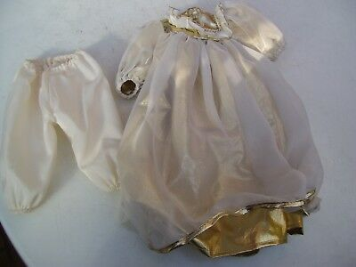 Alte Puppenkleidung Gold White Angel Dress Outfit vintage Doll clothes 45cm Girl