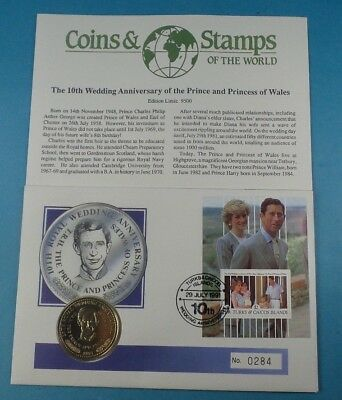 1991 First Day Cover Turks & Caicos  Crown Coin Prince Charles Collection