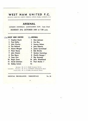 West Ham United v Arsenal 1969 - 1970  London Challenge Cup semi-final