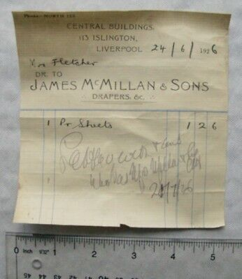 1926 invoice James McMillan & Sons, Liverpool - pair of sheets