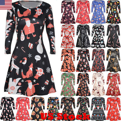 us women christmas xmas print santa snowman ladies party midi swing skater dress