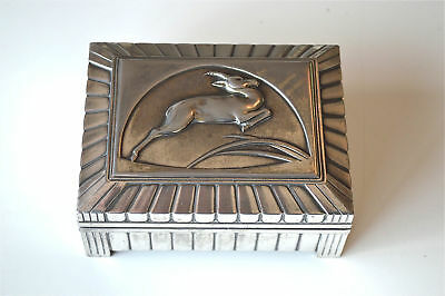 Stylish original Art Deco pewter box with stylised leaping Gazelle design c.1920