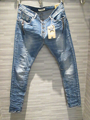 Zip Denim Stretch Baggy-Hose boyfriend schräge Naht Knopfleiste Denim Stone L 40