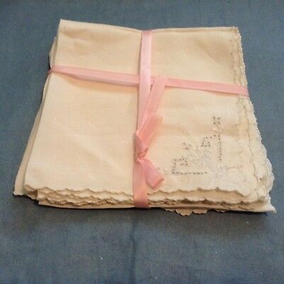 "8 HANDMADE LINEN NAPKINS openwork & hand embroidery 13"" sq AMAZING TINY STITCHES"