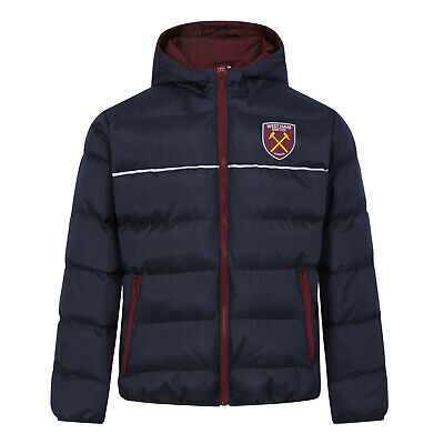 West Ham United FC Official Football Gift Boys Quilted Hooded Winter Jacket