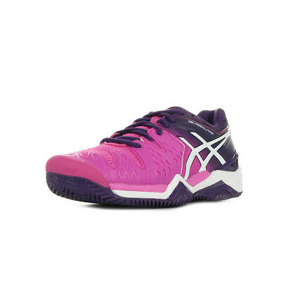 Chaussures Asics femme Gel Resolution 6 Tennis taille Rose Textile Lacets
