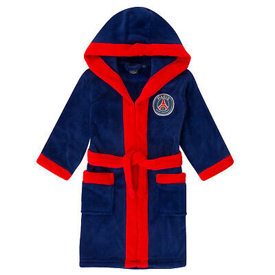 PSG Official Football Gift Boys Hooded Fleece Dressing Gown Robe
