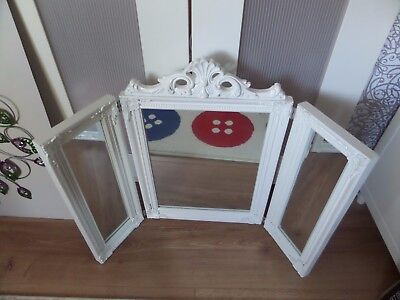 White 3 Section Dressing Table Mirror 74 Cm X 55Cm Brand New