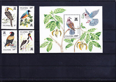 054670 Vögel Birds Uganda 333-36 + Block 35 ** MNH Year 1982