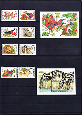 054675 Vögel Birds ... Uganda 515-22 + Block 68/69 ** MNH Year 1987