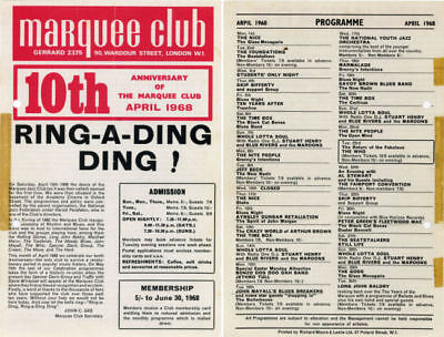 The Who 1968 Marquee Club UK Handbill Flyer